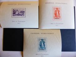 Colonies.lot De 3 Blocs N** De L'exposition Internationale 1937 - France (ex-colonies & Protectorats)