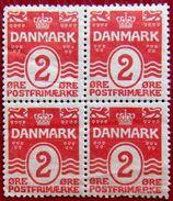 DENMARK 1905 2ore Block Of 4 MLH Scott58 CV$12