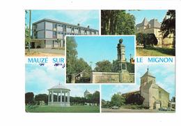 Cpm - 79 - MAUZE-SUR-LE-MIGNON - Multivues - 1973 - Collège - Statue Kiosque église - Mauze Sur Le Mignon