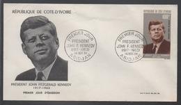 JOHN F. KENNEDY / 1964 COTE D IVOIRE ENVELOPPE PREMIER JOUR (ref LE926)