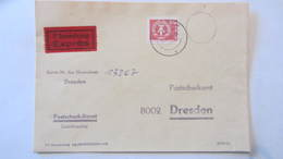 DDR WU: Ps Eilsendung Mit 200Pf Bauwerke Kl.Format Auf Postscheckbrief (gebührenfrei) Aus Dresden Vom 31.7.90 Knr: 2550 - Briefe U. Dokumente
