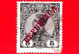 Portogallo - Usato - 1910 - Re Manuel II - Sovrastampato REPUBLICA - 5 - 1910 : D.Manuel II