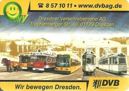 TRAM TRAMWAY RAIL RAILWAY RAILROAD HORSECAR HORSE CAR DRESDNER VERKEHRSBETRIEBE DRESDEN * CALENDAR * DVB 2003 * Germany - Formato Piccolo : 2001-...
