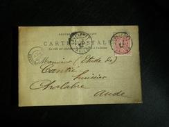 Carte Postale Basile Monié Laines Affranchie Type Semeuse Lignée Oblitération Lavelanet Ariège 1904 - Postmark Collection (Covers)