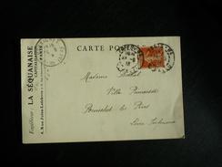 Carte Postale La Séquanaise Affranchie Type Semeuse Oblitération Paris Rue Ballu 1916 - Postmark Collection (Covers)
