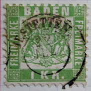 1868 BADE Y&T N° 23 . 1K Vert Jaune . Dentelés 10 - Baden