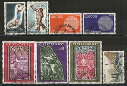 Année Complète 1970, 8 Timbres Oblitérés, 1 ère Qualité, Oblitération Ronde, Inclus Europa 1970, Forte Côte - French Andorra