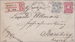 Ganzsachenumschlag Einschreiben Von Hannover Nach Bamberg 1885 - Allemagne