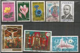 Année Complète 1975, 8 Timbres Oblitérés, 1 ère Qualité, Oblitération Ronde, Inclus Europa 1975, Forte Côte - French Andorra