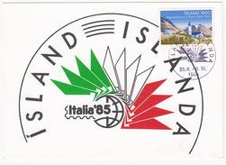 Island : 'ITALIA '85' +  Island 1500 Stamp (Post- Og Simamalastofnunin 14 - 1985) - Maximumkaarten