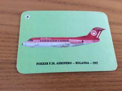 "Calendrier 1993 PORTUGAL ""Avion N°28, FOKKER F.28, AEROPERO - HOLANDA 1967 / JB MIRANDA - VALONGO"" (7x10cm) Chromo - Calendari"