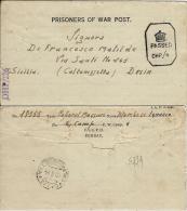 BIGLIETTO CAMPO PRIGIONIERI INDIA POW CAMP 6 BANGALORE 1944 X DELIA - 1900-44 Vittorio Emanuele III