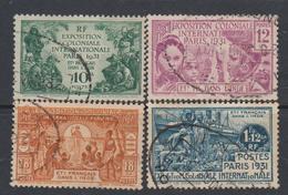 Inde N° 105 / 08 O Exposition Coloniale De Paris Les 4 Valeurs Oblitérations Moyennes Sinon TB