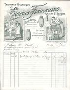 FACTURE TEXTILE VESTIMENTAIRE TRICOTAGE MECANIQUE EUGENE FREMEAUX  ORIGNY SAINTE BENOITE  AISNE  GANTS EPONGE 1910 - Textilos & Vestidos