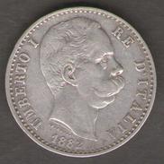 ITALIA 2 LIRE 1882 UMBERTO I AG SILVER - 1861-1946 : Regno
