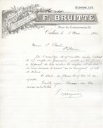 DOCUMENT TEXTILE VESTIMENTAIRE FABRIQUE DE DENTELLES SPECIALITES DE VALENCIENNES F. BRUITTE  CALAIS 1912 - Textile & Clothing