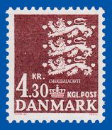 1980 DENMARK  DEFINITIVE LIONS COAT-OF-ARMS  4.30 KR.  FACIT 736 U.M.    N.S.C. - Denmark