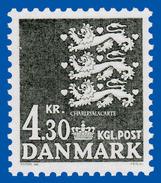 1984 DENMARK  DEFINITIVE LIONS COAT-OF-ARMS  4.30 KR. GREEN-BLACK FACIT 822 U.M.    N.S.C. - Unused Stamps