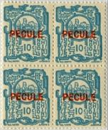 !!! INDOCHINE BLOC DE 4 DU 10C  SURCHARGE PECULE EN ROUGE, NEUF LUXE. TTB - Unused Stamps