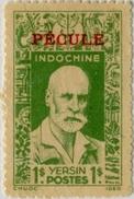 !!! INDOCHINE N°24, 1 PIASTRE VERT YERSIN SURCHARGE PECULE EN ROUGE, NEUF SANS GOMME. TTB - Unused Stamps