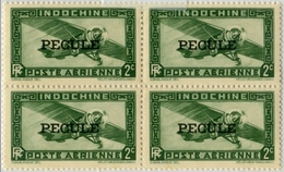 !!! INDOCHINE BLOC DE 4 DU N°26  SURCHARGE PECULE EN NOIR, NEUF SANS CHARNIERE, GOMME COLONIALE. TTB - Unused Stamps