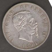 ITALIA 5 LIRE 1874 VITTORIO EMANUELE II AG SILVER - 1861-1878 : Vittoro Emanuele II