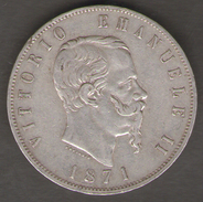 ITALIA 5 LIRE 1871 VITTORIO EMANUELE II AG SILVER - 1861-1946 : Regno