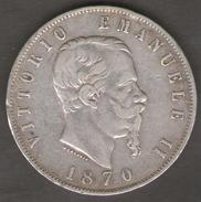 ITALIA 5 LIRE 1870 VITTORIO EMANUELE II AG SILVER - 1861-1878 : Vittoro Emanuele II