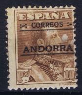 Spanish Andorra 1928  Mi. Nr 12 A  10 PTS  Perforation 12.50 * 11.50  MH/* Falz/ Charniere - Andorra Española