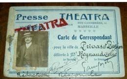 Presse THEATRA Marseille Carte De Presse (Théâtre) Vers 1900 M. ReynaudCelse Privas Journaliste - Vieux Papiers