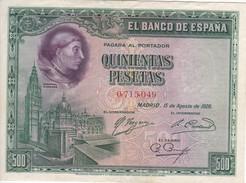 BILLETE DE ESPAÑA DE 500 PTAS DEL AÑO 1928 MBC (VF) SIN SERIE -CARDENAL CISNEROS - 500 Pesetas