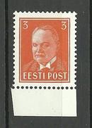 ESTLAND ESTONIA Estonie 1940 Michel 156 MNH - Estonie