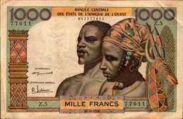 BCEAO   BILLETS 1000 FRANCS  Du 17-9-1959  Pick 4  RARE - West African States