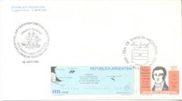 FRAGATA LIBERTAD  14 DE MAYO DE 1982 DURANTE LA GUERRA DE MALVINAS FALKLANDS WAR  MATASELLO FRAGATA HEROINA  RARE FDC - Postzegels