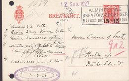 Denmark Postal Stationery Ganzsache 15/25 Øre Chr. X. Overprinted VESTERBRO APOTHEK, KJØBENHAVN 1927 HALLE A/s Germany - Postal Stationery