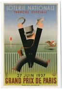 CPM   PUBLICITE      LOTERIE NATIONALE TRANCHE SPECIALE   27 JUIN 1937   GRAND PRIX DE PARIS   COURSES TIERCE TURFISTE - Pubblicitari