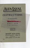 75 - PARIS -BEAU LIVRET INSTRUCTIONS POUR ECREMEUSES ALFA-LAVAL- 10 RUE CHARLES V- SERIES A4-A4H -1937-LAITERIE BEURRE- - Documents Historiques