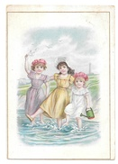 Brussells Victorian Trade Card L Pagnier & Co Pasta Pates Children Girls Wading In Ocean - Other