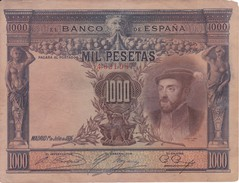 BILLETE DE ESPAÑA DE 1000 PTAS DEL AÑO 1925 DE CARLOS I EN CALIDAD RC - DESCUIDADO (BANKNOTE) - 1000 Pesetas