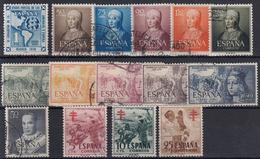 ESPAÑA 1951 Nº 1091/1105 AÑO USADO COMPLETO (SIN VIAJES A CANARIAS) 15 SELLOS - Spain