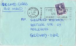 20515. Carta Aerea KISUMU (Kenia) 1962. Stamp Kenia Uganda Tanganika. Slogan MALARIA - Kenya, Uganda & Tanganyika