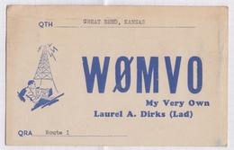 6AI4845 CARTE QSL Radio Amateur GREAT BEND KANSAS  USA 1947  2 SCANS - Radio Amateur