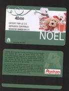 GIFT CARD - Carte Cadeau Auchan - NOEL Vert Foncé - Date Limite à Gauche - 40 € - CE SERVICES CENTRAUX - Cartes Cadeaux