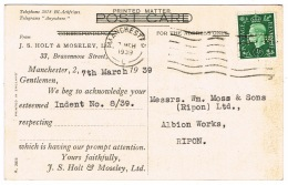 RB 1134 - 1939 Queen Mary Shipping Postcard With Holt & Moseley 1/2d Perfin Stamp - Great Britain