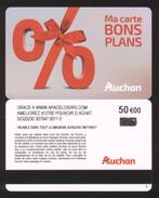 GIFT CARD - Carte Cadeau Auchan - BONS PLANS - 50 € - APACELOISIRS - Cartes Cadeaux