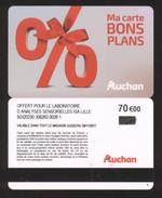 GIFT CARD - Carte Cadeau Auchan - BONS PLANS - 70 € - LABORATOIRE D ANALYSE SENSORIELLES ISA LILLE - Cartes Cadeaux