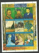 TCHAD 2001 Kunst Art Vincent Van Gogh Complete Sheet Of 9 MNH - Chad (1960-...)