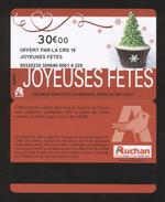 GIFT CARD - Carte Cadeau Auchan - JOYEUSES FETES - 30 € - CRS 15 - Cartes Cadeaux