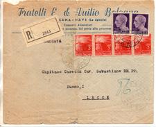 1946 Italy Italien Italia Raccomandata 10.5.1946 Vg SARZANA X Lecce R-Brief Registered Letter 2scans Cenno Piega Centro - 5. 1944-46 Luogotenenza & Umberto II