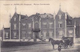 Souvenir De Landelies - Maison Communale (attelage, Animée, Edit. Laloyaux-Massceau, 1924) - Montigny-le-Tilleul
